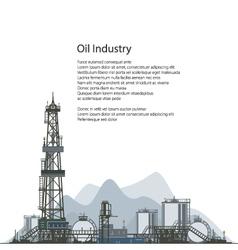 Oil drilling rig brochure flyer design vector