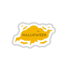 Paper sticker on background of cloud bats vector