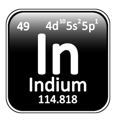 Periodic table element indium icon vector