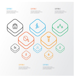 Person outline icons set collection of head team vector