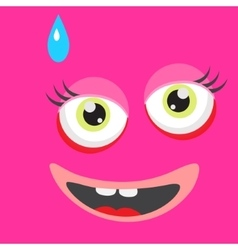 Pink monster face cartoon personage vector