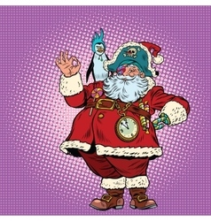 Santa Claus pirate and penguin okay gesture vector image vector image