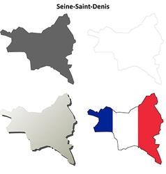 Seine-saint-denis ile-de-france outline map set vector