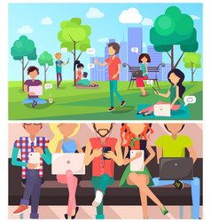 set of people and technology in cartoon style vector image vector image