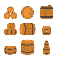 Set of wooden barrels vector