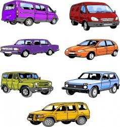 seven passenger cars vector image