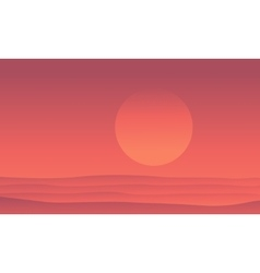 Silhouette of desert at sunrise scenery vector image vector image