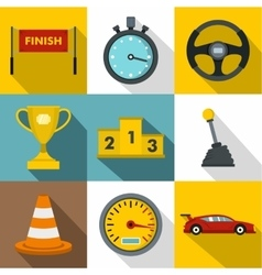 Speed race icons set flat style vector