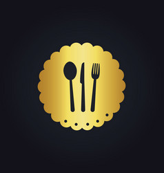 Spoon fork food gold logo vector