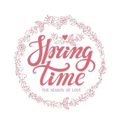 Spring time letteringpink doodle floral wreath vector