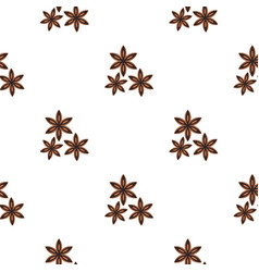 Star anise spice pattern flat vector