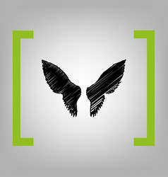 wings sign black scribble vector image vector image