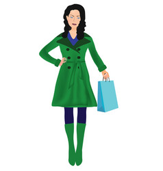 woman in green coat shopping vector image vector image