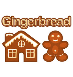 Xmas ginger bread cookie man and house colorful vector