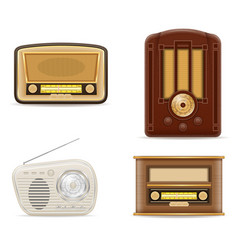 Radio old retro vintage set icons stock vector