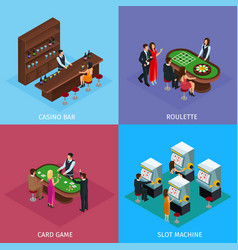 Isometric people in casino square concept vector