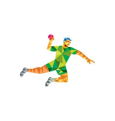 Handball player jumping throwing ball low polygon vector