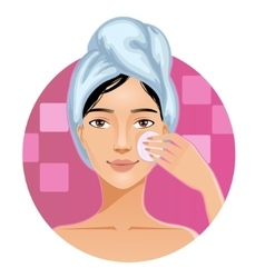 Woman with a towel cleaning her face with sponge vector