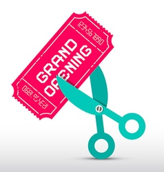Retro grand opening with scissors and pink t vector