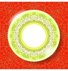 Ceramic ornamental plate isolated on red vector