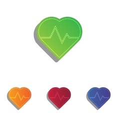 Heartbeat sign  colorfull applique vector