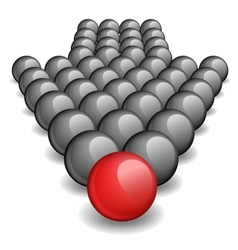 Arrow made up of gray balls with one red ball vector