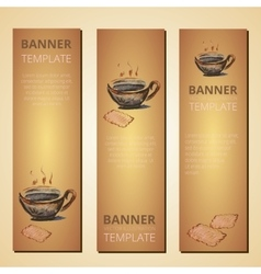 Banners with teapot and cup of tea tea time vector