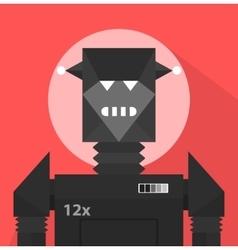 Black evil robot character vector