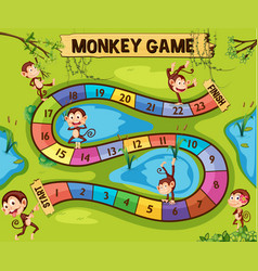 Boardgame template with monkeys in jungle vector