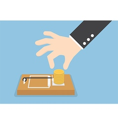 Businessman hand try to pick money from mousetrap vector image vector image