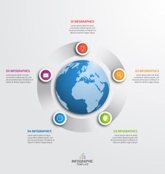 Circle infographic template with globe 5 options vector