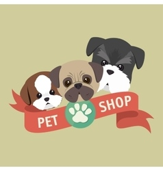 Cute doggys pet shop symbol ribbon vector