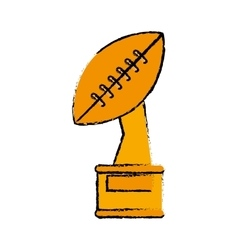 Drawing trophy winner ball shape american football vector