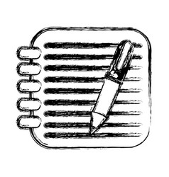 Figure square rings notebook with pen vector