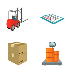 forklift delivery slips packaged goods cargo on vector image
