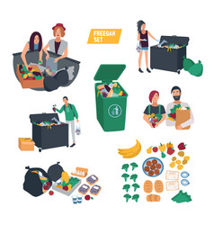 freeganism set freegan people search food in vector image vector image