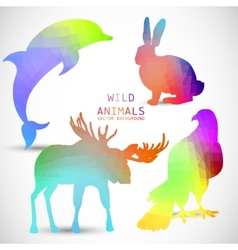 Geometric silhouettes of animals dolphin rabbit vector