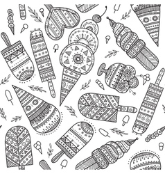 Icecream seamless pattern drawn in ethnic boho vector
