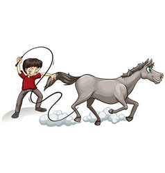 Man training horse with whip vector