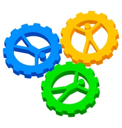 people cog wheels icon vector image vector image