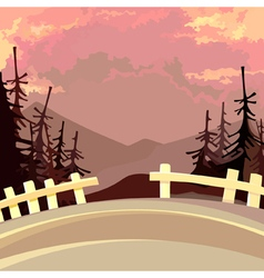 road with a fence in the mountains with fir trees vector image