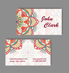 set of business cards vintage pattern in retro vector image vector image