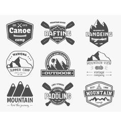 Set of vintage mountain kayaking paddling vector