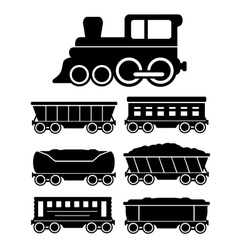 Set train cars for travel or cargo delivery vector