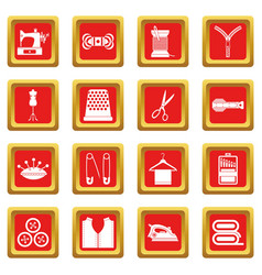 Sewing icons set red vector