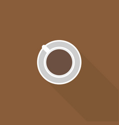 simple coffee icon in top view with long shadow vector image