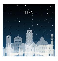 winter night in pisa night city in flat style vector image vector image