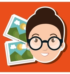 Woman photo search graphic vector