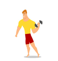 young man male bodybuilder weightlifter doing vector image