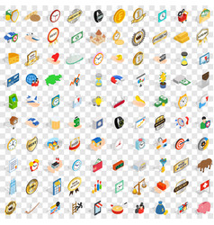 100 coin icons set isometric 3d style vector image vector image